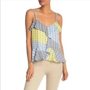 Parker Patterned Ruffle Sleeveless Blouse GIA
